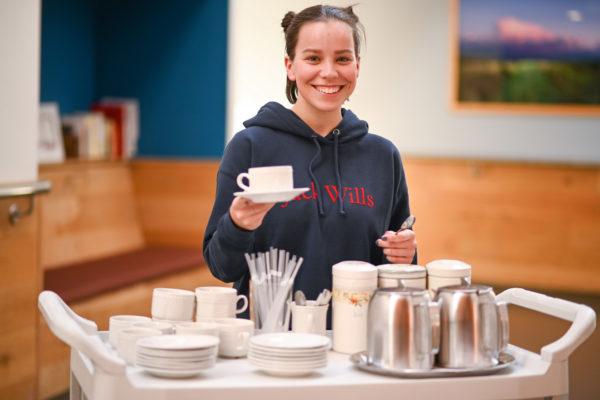 Volunteer with tea cup